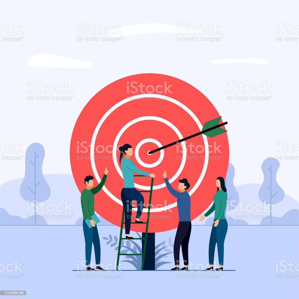 Target business teamwork, arrow hitting a target, business concept...