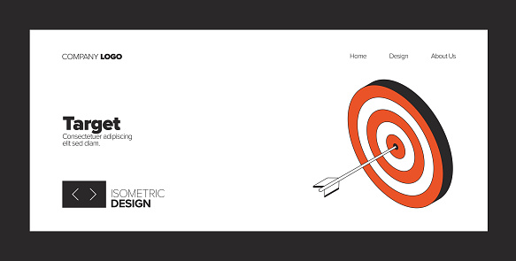 Target Concept Isometric Web Banner, Three Dimensional Design for Posters, Covers and Banners