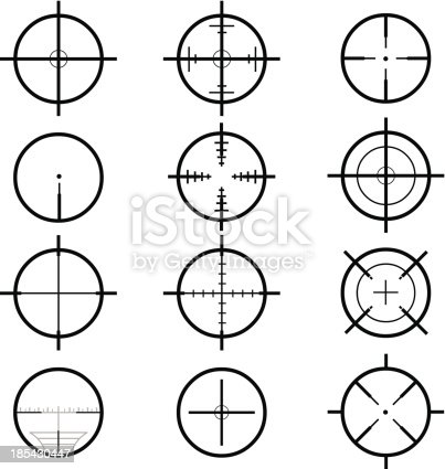A vector illustration of various types of aiming crosshair sights.
