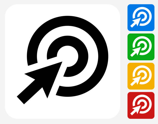 Target Cursor Icon Flat Graphic Design Target Cursor Icon. This 100% royalty free vector illustration features the main icon pictured in black inside a white square. The alternative color options in blue, green, yellow and red are on the right of the icon and are arranged in a vertical column. bull's eye stock illustrations