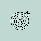 Target doodle vector illustration concept. Hand drawn, line icon