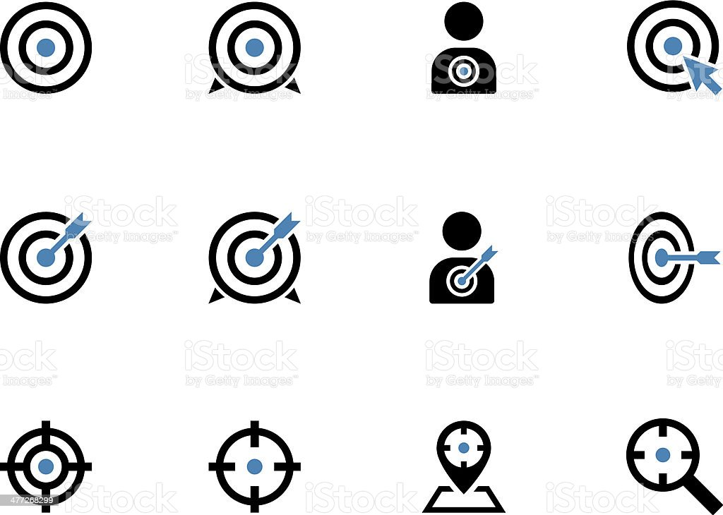 Target duotone icons on white background. vector art illustration