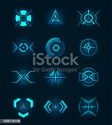 Hud icon for crosshair, accuracy sign for ui or radar location. Aiming and military, rifle and gun