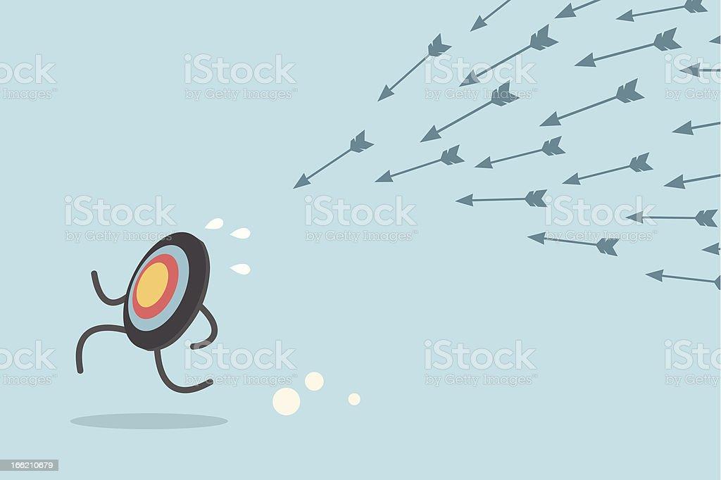 target escaping arrows vector art illustration