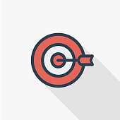 target, goal, success marketing concept, arrow center thin line flat icon. Linear vector symbol colorful long shadow design.