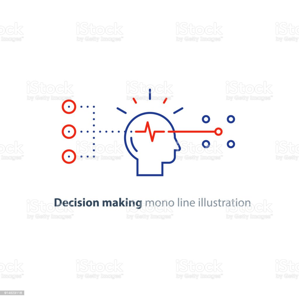 Target group, decision making, bias concept, choose options, creative thinking vector art illustration