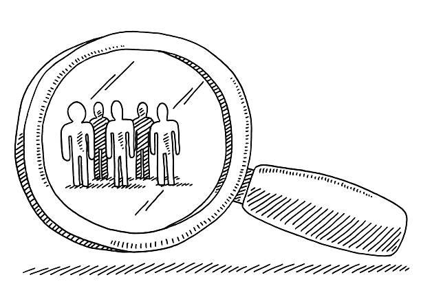 ilustraciones, imágenes clip art, dibujos animados e iconos de stock de objetivo grupo de personas lupa dibujo - zoom meeting