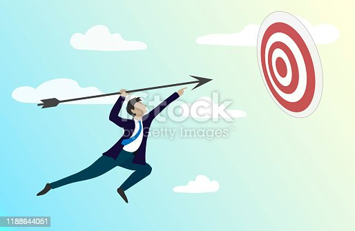 Target hit in the center by arrow. Business strategy.