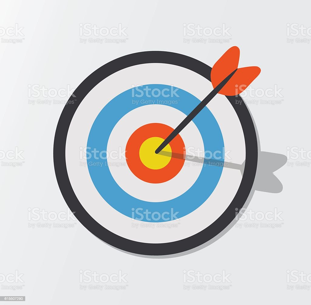 Target hit in the center by arrows. Vector icon illustration vector art illustration