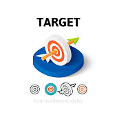 Target icon, vector symbol in flat, outline and isometric style