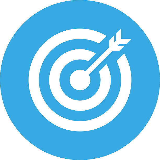 target icon on a round button. - blue clipart stock illustrations
