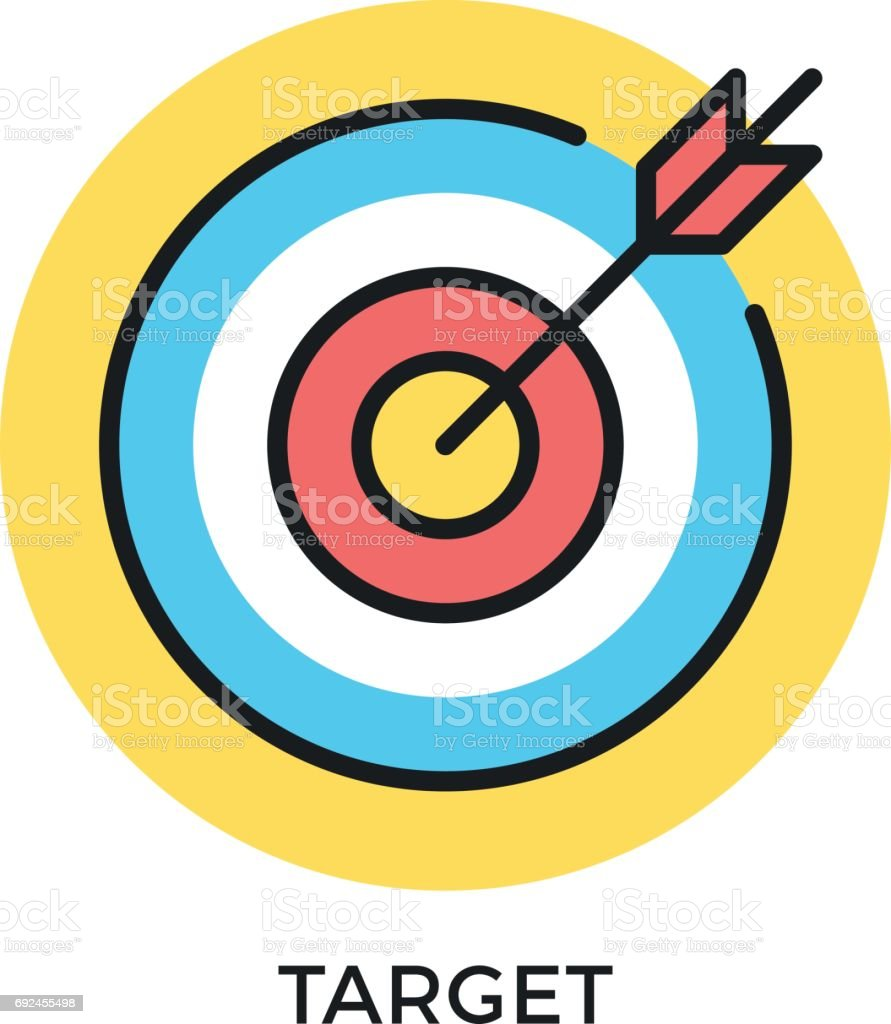 Target icon. Target and arrow symbols. Mission, objective, bull's eye concepts. Modern flat design thin line elements. Vector icon vector art illustration