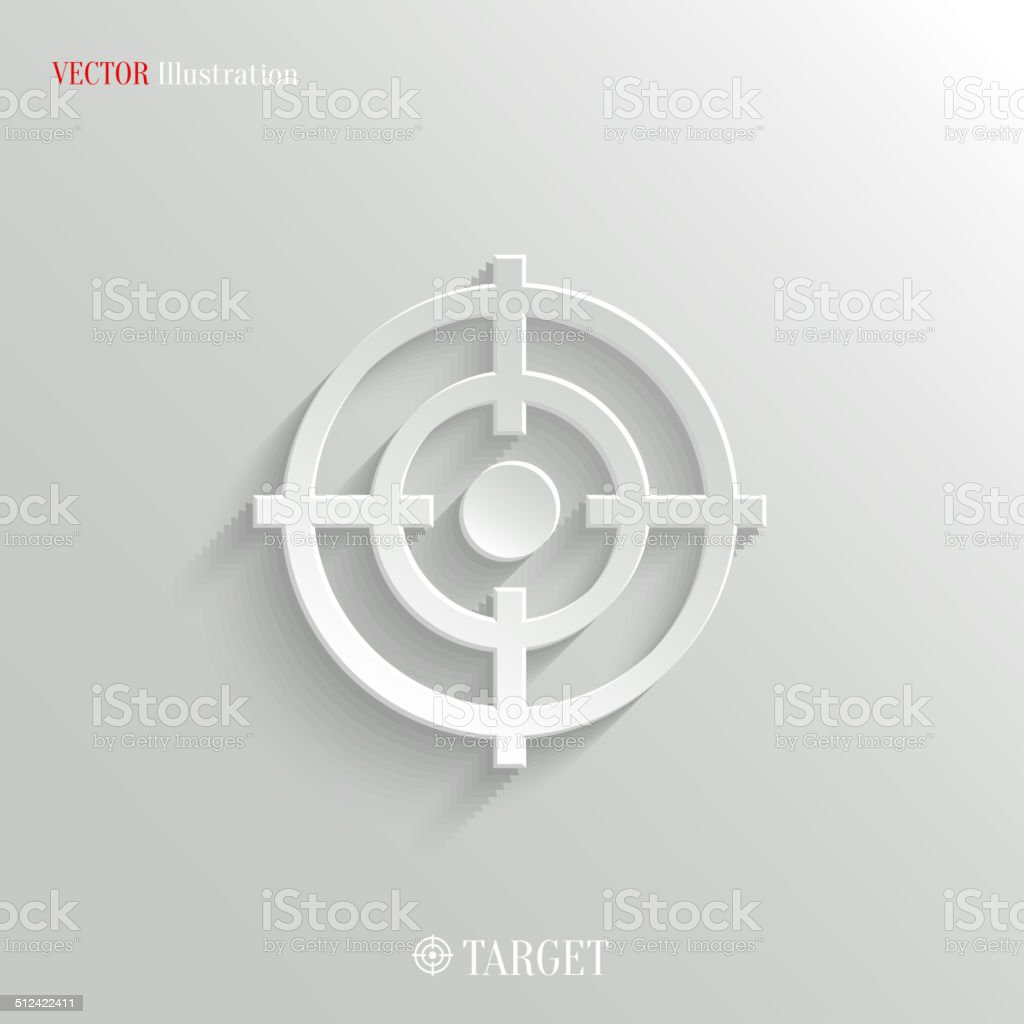 Target icon - vector white app button vector art illustration