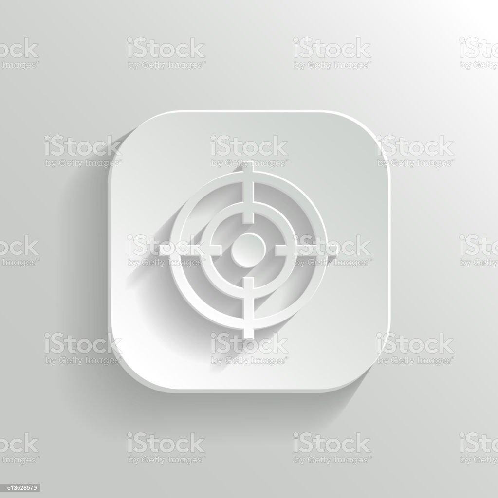 Target icon - vector white app button vector art illustration
