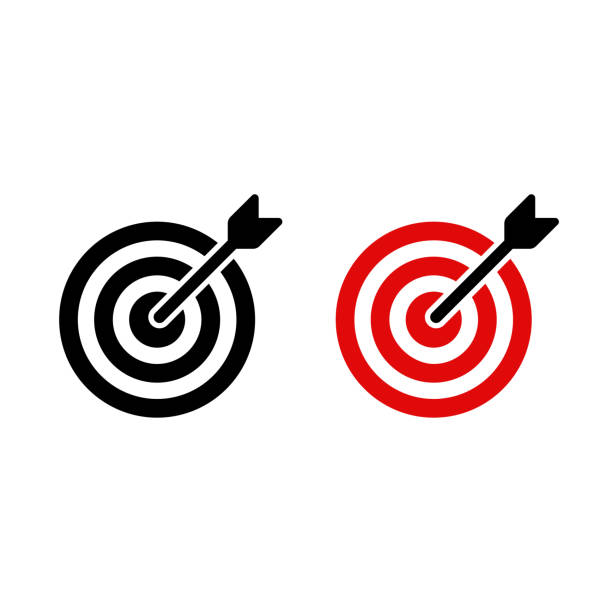 Target icon with arrow Target icon with arrow shot at bullseye. Black and red aim and accuracy symbol. Vector sign illustration. bull's eye stock illustrations