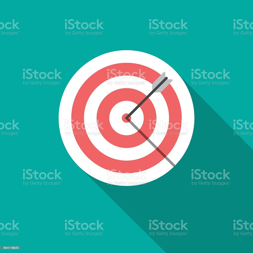 Target icon with long shadow. vector art illustration