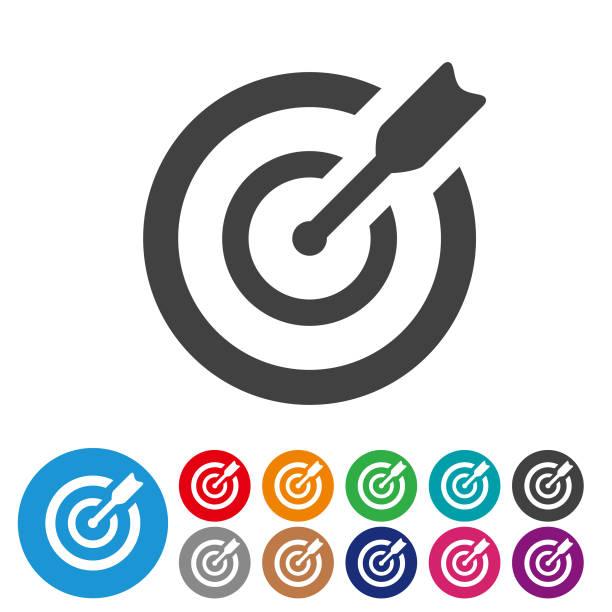 ziel symbole - grafik icon serie - lebensziel stock-grafiken, -clipart, -cartoons und -symbole