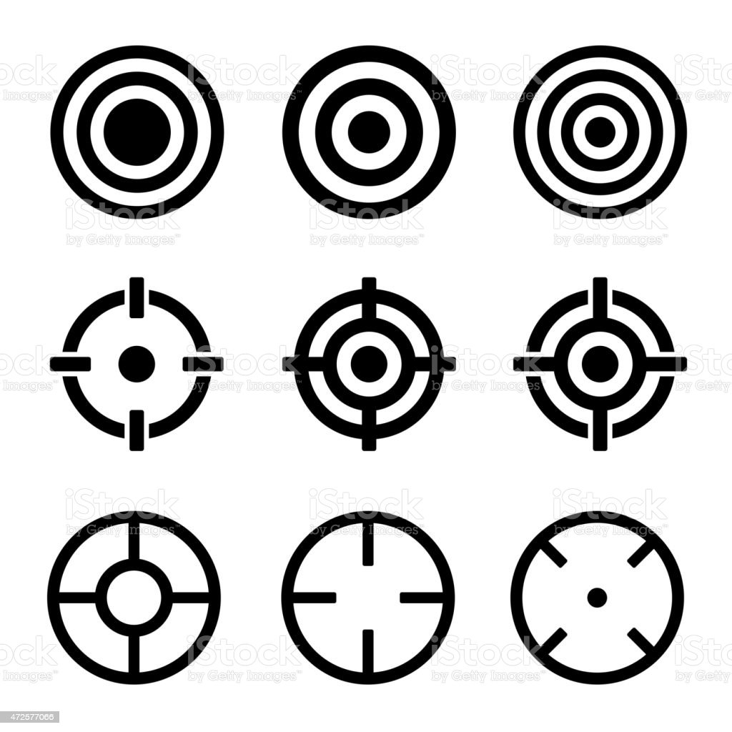 Target Icons Set on White Background. Vector vector art illustration