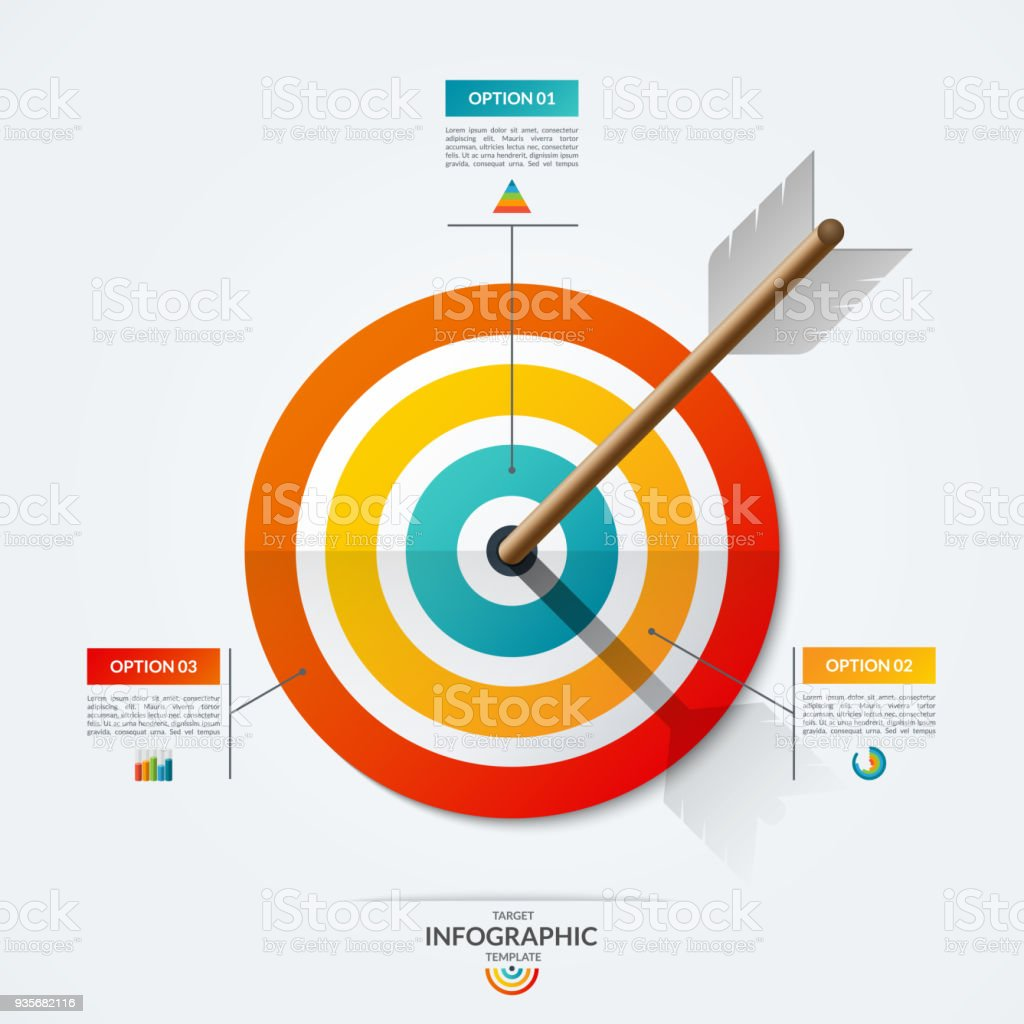 target infographic template vector illustration with the arrow that