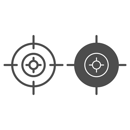 Target line and solid icon. Aim focus goal, crosshair symbol, outline style pictogram on white background. Military or warfare sign for mobile concept and web design. Vector graphics.