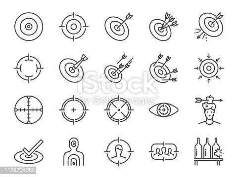 Target line icon set. Included icons as aim, goal, crosshair,  shoot, shooting and more.