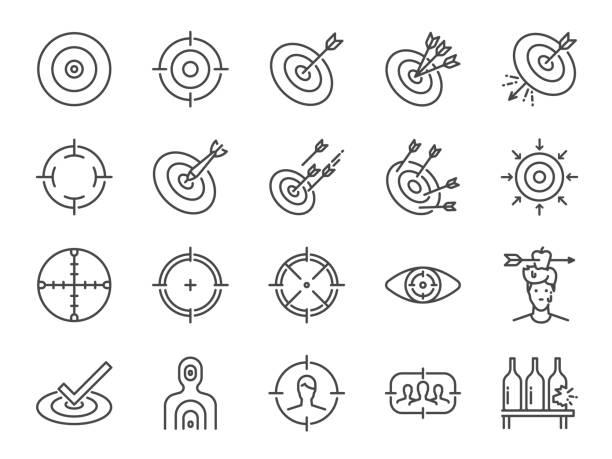 zestaw ikon linii docelowej. zawiera ikony jako cel, cel, celownik, strzelać, strzelać i więcej. - aspiracje stock illustrations
