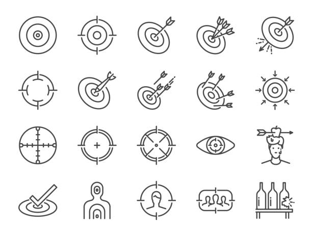 Target line icon set. Included icons as aim, goal, crosshair,  shoot, shooting and more. Target line icon set. Included icons as aim, goal, crosshair,  shoot, shooting and more. pointing stock illustrations