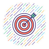 Flat line vector icon illustration of target market analysis with abstract background.