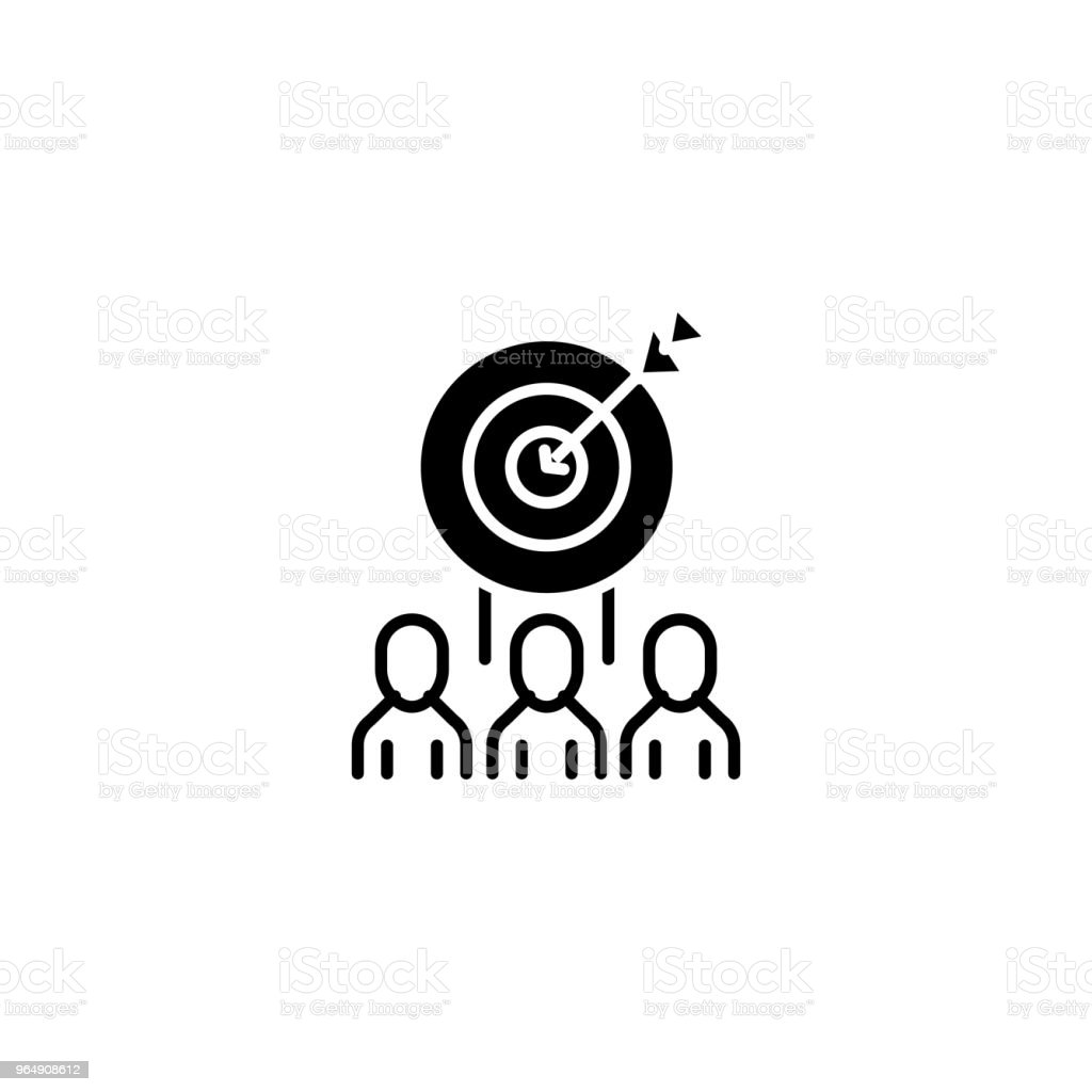 Target market audience black icon concept. Target market audience flat  vector symbol, sign, illustration. royalty-free target market audience black icon concept target market audience flat vector symbol sign illustration stock vector art & more images of no people