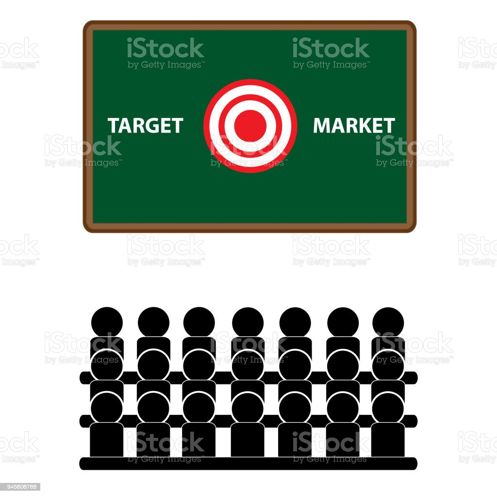Target market classroom audience business training vector art illustration