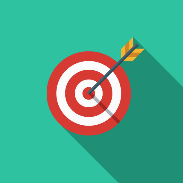 Target Market Flat Design SEO Icon A flat design styled search engine optimization (SEO) icon with a long side shadow. Color swatches are global so it's easy to edit and change the colors. bull's eye stock illustrations