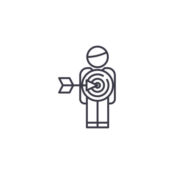 目標市場觀眾線性圖示概念。目標行銷觀眾線向量符號, 符號, 插圖。向量藝術插圖