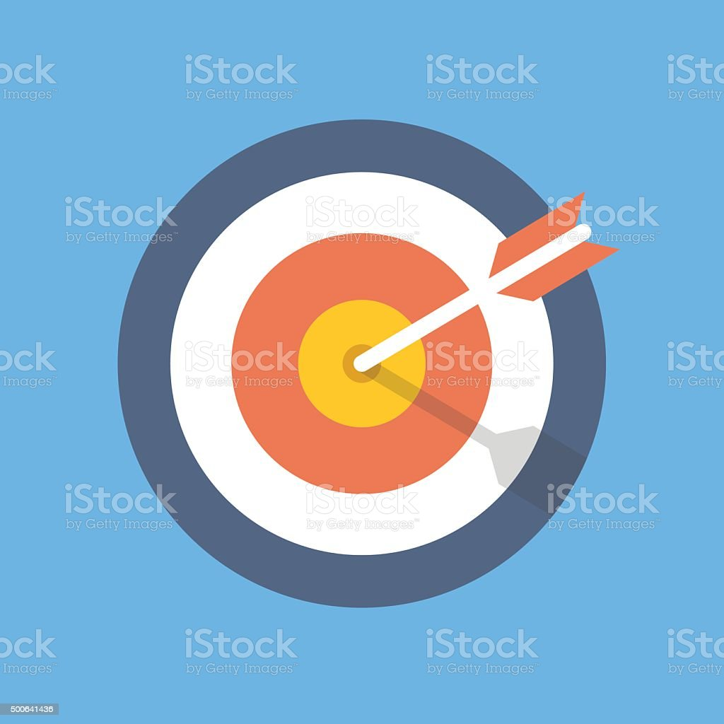 Target marketing icon. Target with arrow symbol. Flat vector illustration