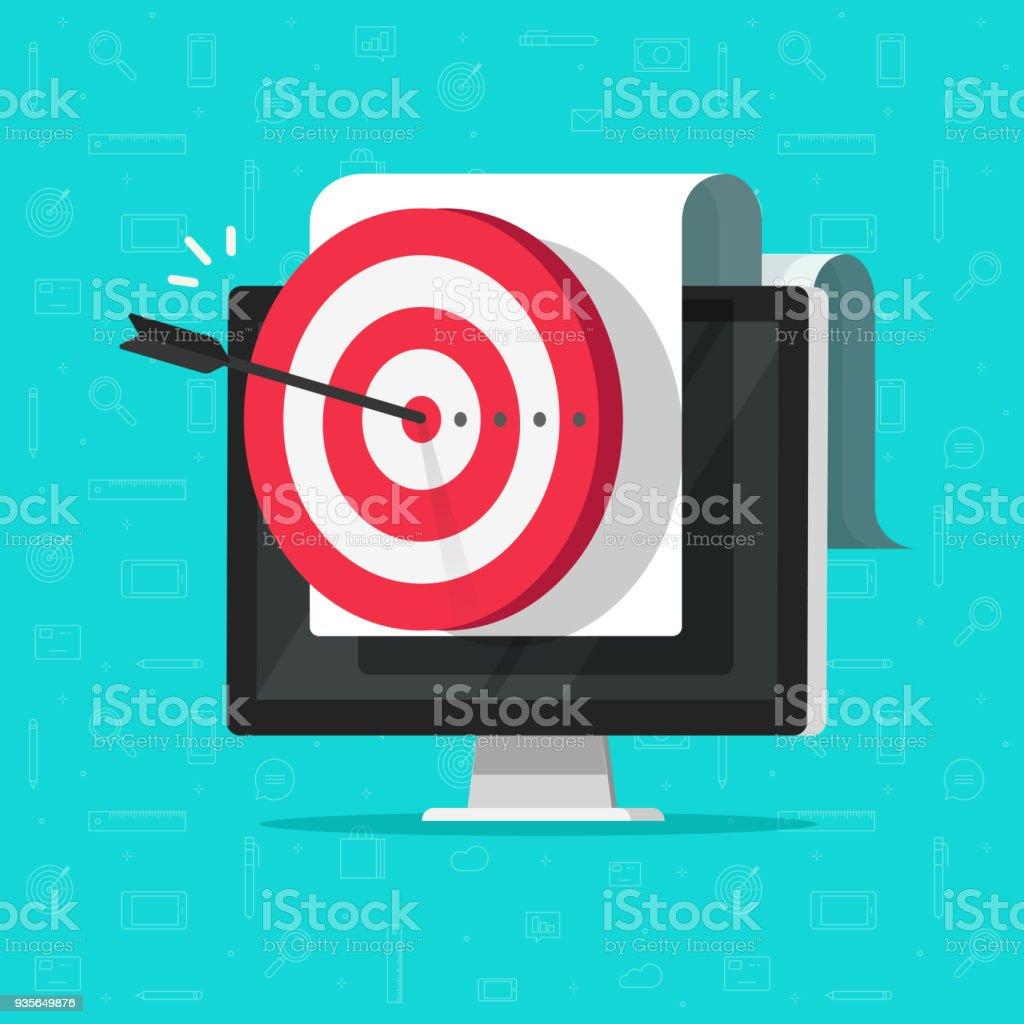 Ziel auf Computer, Vektor, Erfolg Unternehmen Ziel oder Ziel, digital-marketing-Promotion, gute Online-Kampagne oder Strategie, Internet-Zielgruppen-targeting, Mission oder Plan Leistung anzeigen – Vektorgrafik