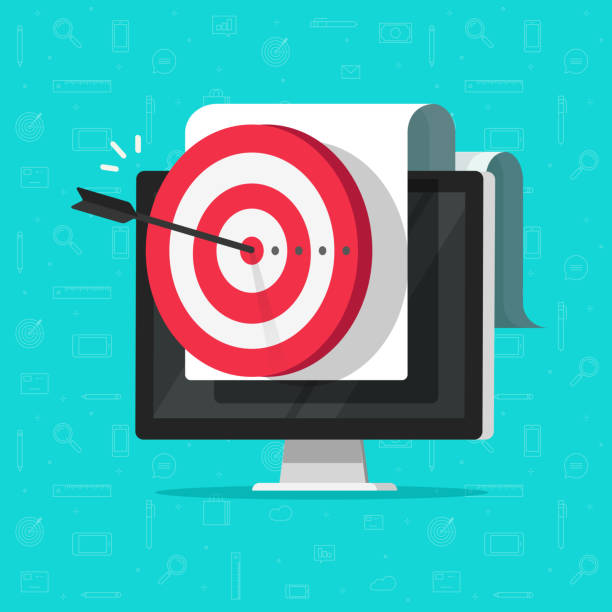 Target on computer display vector, success business aim or goal, digital marketing promotion, good online campaign or strategy, internet audience targeting, mission or plan achievement Target on computer display vector, concept of success business aim or goal, digital marketing promotion, good online campaign or strategy, internet audience targeting, mission or plan achievement aiming stock illustrations