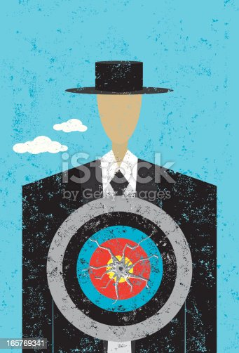 A man with a target on his chest. The target & bullet hole, man, and background are on separate labeled layers. The bullet hole is grouped separately so it can be moved, enlarged, or removed.