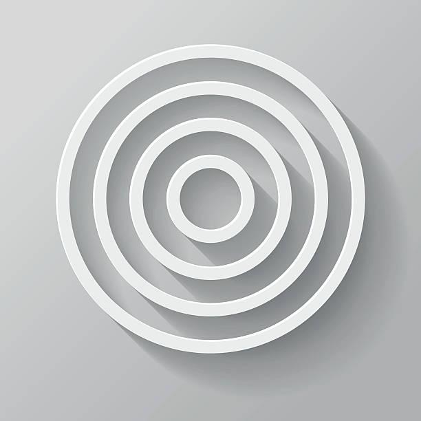 illustrazioni stock, clip art, cartoni animati e icone di tendenza di destinazione carta sottile linea con lunga ombra icona interfaccia - motivo concentrico