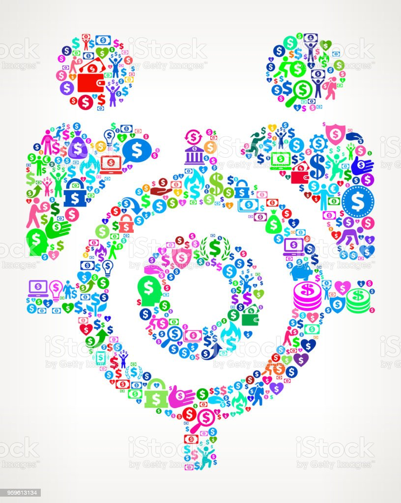 Target People Money Vector Icon Pattern. The main object depicted in...