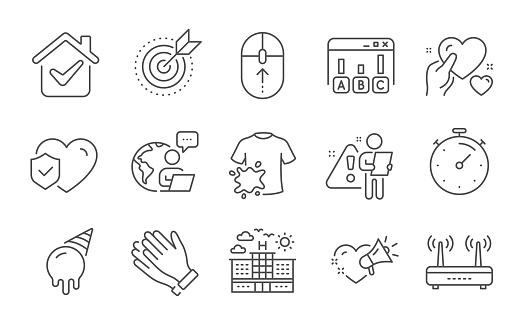 Target purpose, Timer and Wifi icons set. Dirty t-shirt, Swipe up and Hold heart signs. Vector
