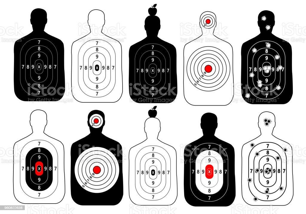 objetivo gama disparar vector humano conjunto - ilustración de arte vectorial