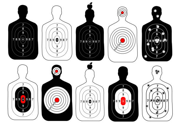 target range shoot human vector set target range shoot human vector set gun stock illustrations