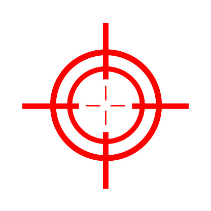 Target red icon. Slick design on a white background. Vector illustration isolated on white. Military aim sign.