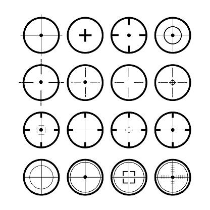 Target set. Sight symbol black colored. Set of 16 sight. Vector