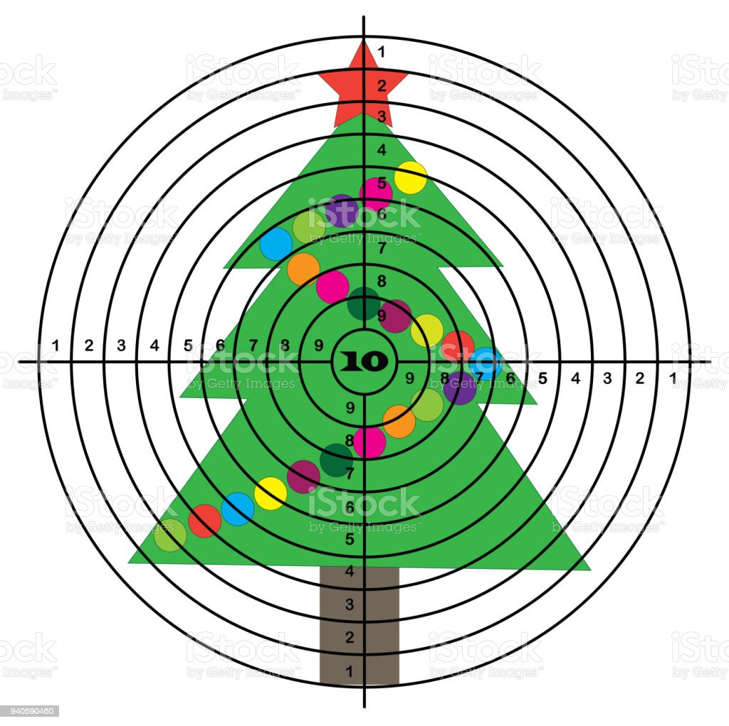 Target shooting on background of Christmas tree vector art illustration