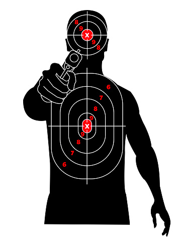 Target shooting. Silhouette of a man with gun in his hand, criminal, thug