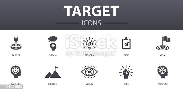 target simple concept icons set. Contains such icons as big idea, task, goal, patience and more, can be used for web, logo, UI/UX