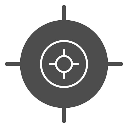 Target solid icon. Aim focus goal, crosshair symbol, glyph style pictogram on white background. Military or warfare sign for mobile concept and web design. Vector graphics.