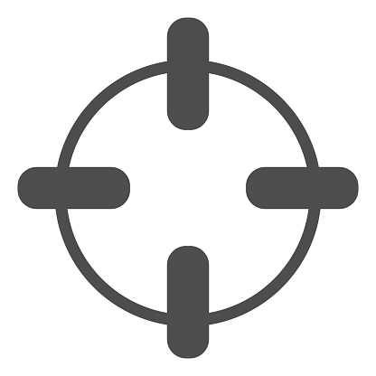Target solid icon. Aim in focus, crosshair symbol, glyph style pictogram on white background. Warfare sign for mobile concept and web design. Vector graphics.