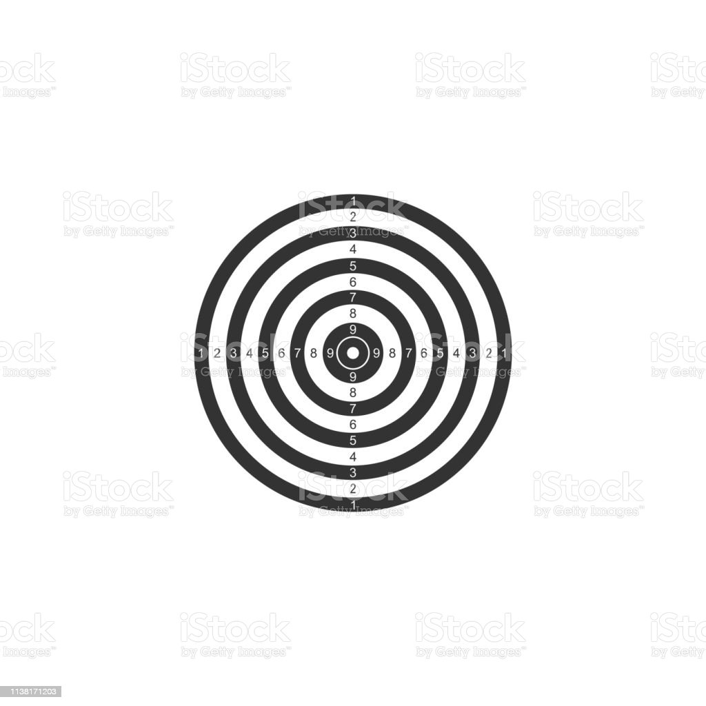 Target sport for shooting competition icon isolated. Clean target...