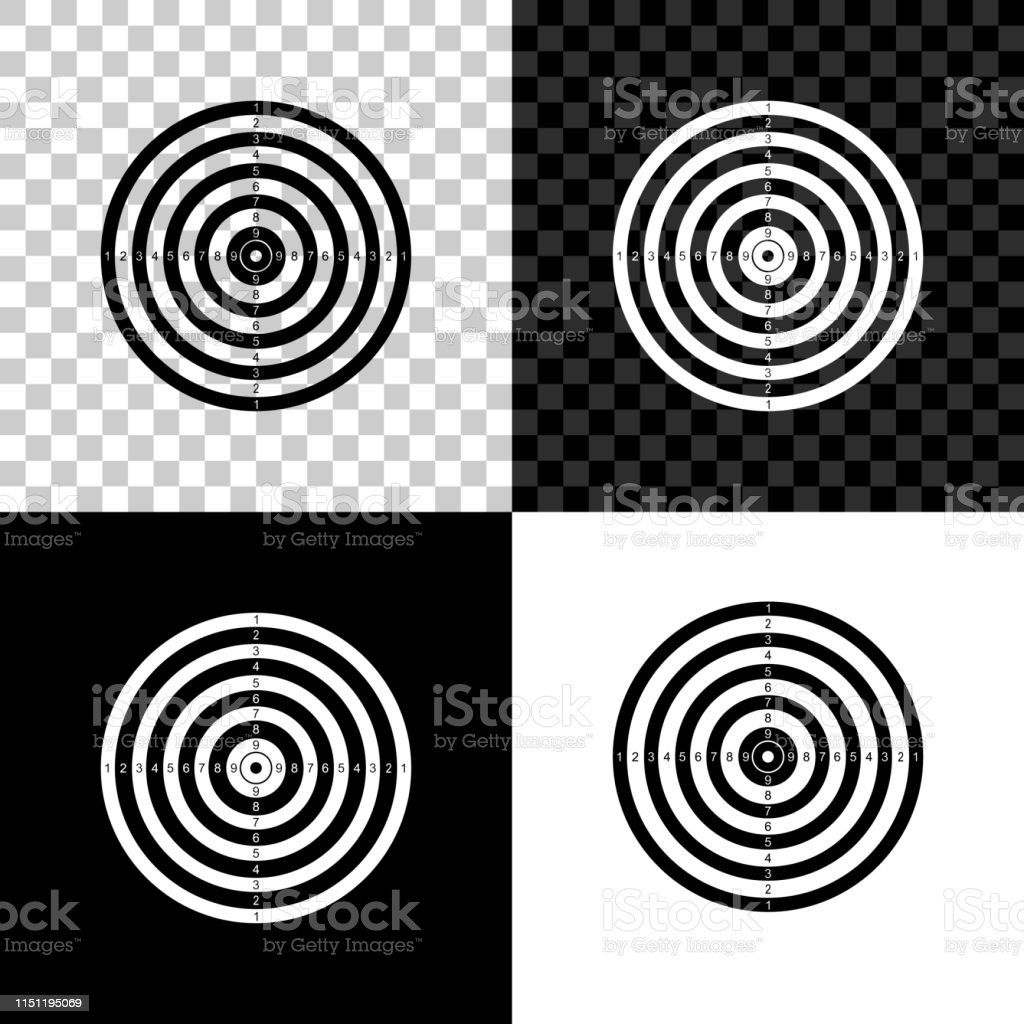 Target sport for shooting competition icon isolated on black, white...